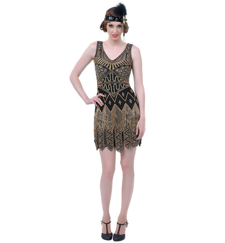 Beaded Gold Fringe Flapper in Theatrical Costumes from BuffaloBreath at Buffalo Breath Costumes