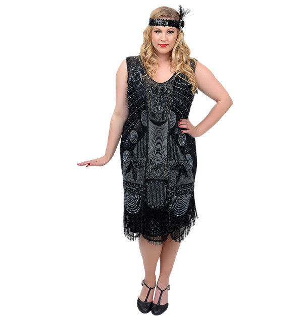 Beaded Bosley Black deluxe plus size 1920s flapper dress to rent or buy at Buffalo Breath Costumes