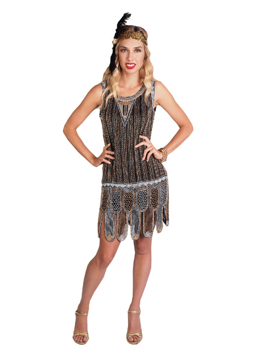 6fd4e897f08 1920s Gatsby deco flapper dress costume rental at Buffalo Breath Costumes