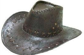Black Cowboy Hat with stitching by Jacobson Hats at Buffalo Breath Costumes in San Diego