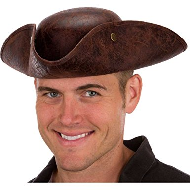 Faux Leather Tricorn Hat costume accessory by Jacobson Hats at Buffalo Breath Costumes