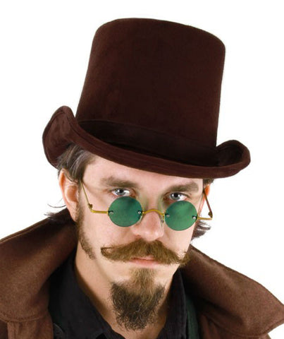Coachman dark brown steampunk top hat by Elope at Buffalo Breath Costumes