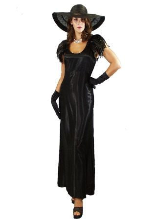 1920's Hollywood Long Satin Black Dress with Feather Cape in Theatrical Costumes from BuffaloBreath at Buffalo Breath Costumes