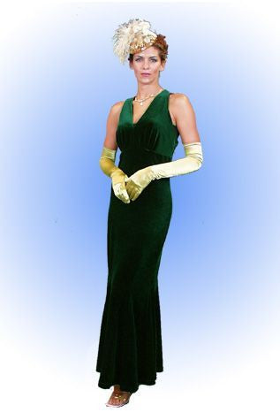 1920's Long Green Velvet Hollywood Dress in Theatrical Costumes from BuffaloBreath at Buffalo Breath Costumes