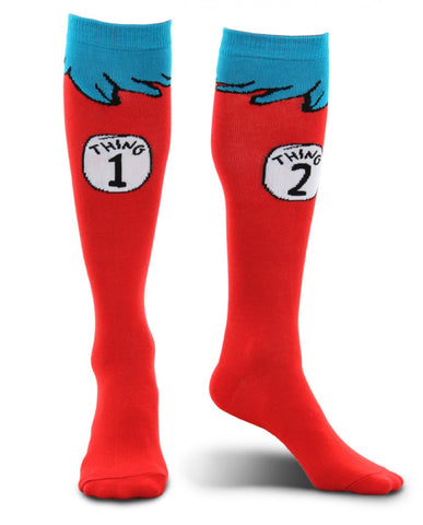Dr. Seuss The Cat in the Hat Thing 1 & Thing 2 costume socks