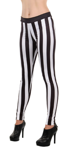 Black and White Striped Leggings by Elope 430096 at Buffalo Breath Costumes