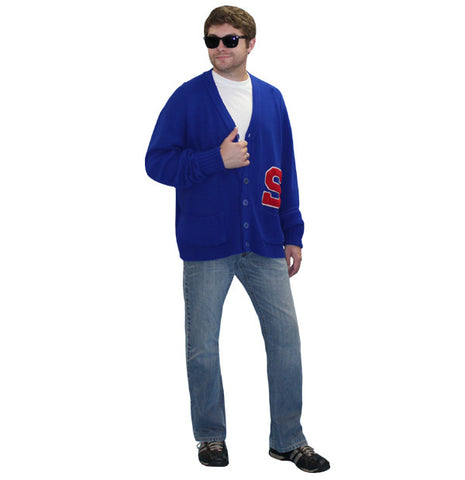 Blue Letterman Sweater in Theatrical Costumes from BuffaloBreath at Buffalo Breath Costumes