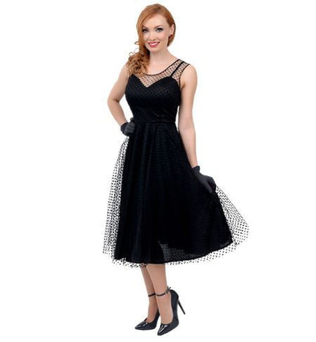 1950's Black Polka Dot Swing Dress in Theatrical Costumes from BuffaloBreath at Buffalo Breath Costumes