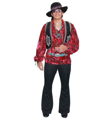 Jimi Hendrix 1960s rock star costume rental or purchase at Buffalo Breath Costumes in San Diego