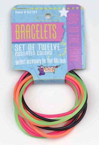 Set of Twelve jelly Bracelets 80's costume accessories by Forum Novelties #62151 at Buffalo Breath Costumes
