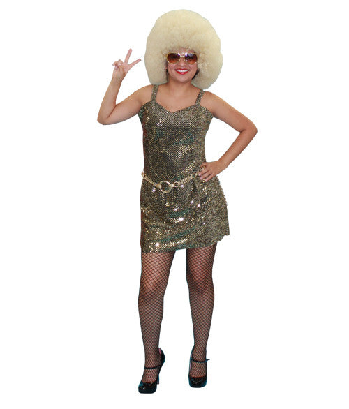 Gold Sequin Dress Diva in Theatrical Costumes from BuffaloBreath at Buffalo Breath Costumes