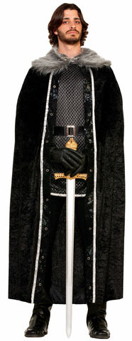 Faux Fur Trimmed Cape - Black
