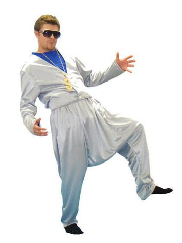 MC (silver) 1980s rapper costume rental or purchase at Buffalo Breath Costumes in San Diego