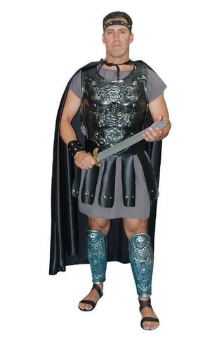 Grey Deluxe Gladiator with Fiberglass Chest Plate in Theatrical Costumes from BuffaloBreath at Buffalo Breath Costumes