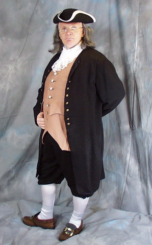 Ben Frankin deluxe colonial founding father costume rental or purchase at Buffalo Breath Costumes in San Diego