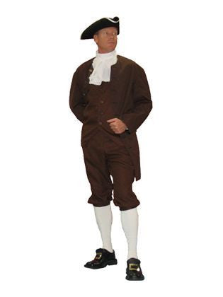 Colonial Patriot 1776 Founding Father Hamilton mens costume rental or purchase at Buffalo Breath Costumes