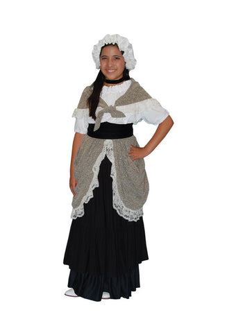 Colonial Girl Child with Black Skirt in Theatrical Costumes from BuffaloBreath at Buffalo Breath Costumes