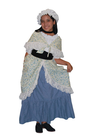 Colonial Girl Child with Blue Skirt in Theatrical Costumes from BuffaloBreath at Buffalo Breath Costumes