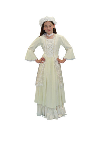 Colonial Lady Child White Dress in Theatrical Costumes from BuffaloBreath at Buffalo Breath Costumes