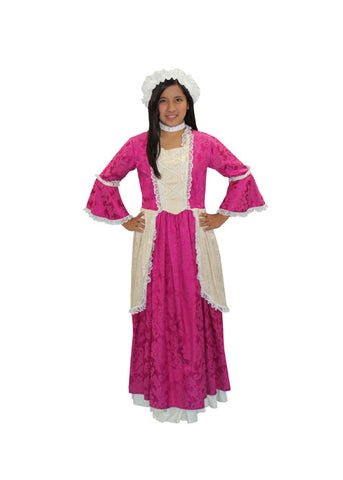 Colonial Lady Child Pink Dress in Theatrical Costumes from BuffaloBreath at Buffalo Breath Costumes