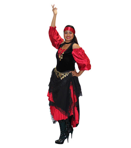 Red and Black Gypsy with Petticoat in Theatrical Costumes from BuffaloBreath at Buffalo Breath Costumes