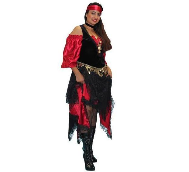 Red and Black Gypsy in Theatrical Costumes from BuffaloBreath at Buffalo Breath Costumes