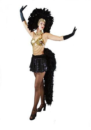 Vegas Showgirl (Black/Gold) in Theatrical Costumes from BuffaloBreath at Buffalo Breath Costumes