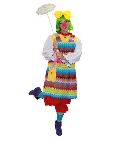 Rainbow Clown Girl in Theatrical Costumes from BuffaloBreath at Buffalo Breath Costumes