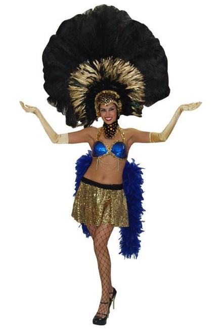 Showgirl (blk/blu/gld) in Theatrical Costumes from BuffaloBreath at Buffalo Breath Costumes