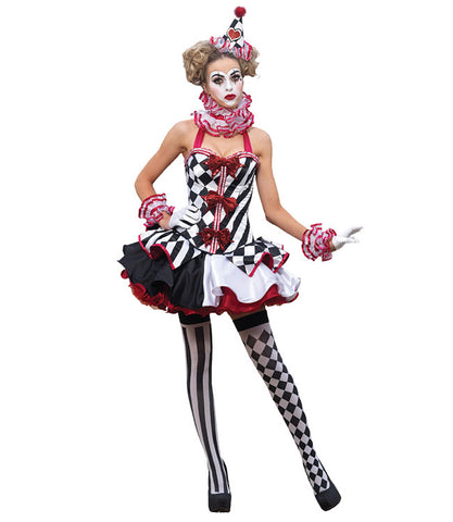 Harlequin Clown Mini Dress in Theatrical Costumes from BuffaloBreath at Buffalo Breath Costumes