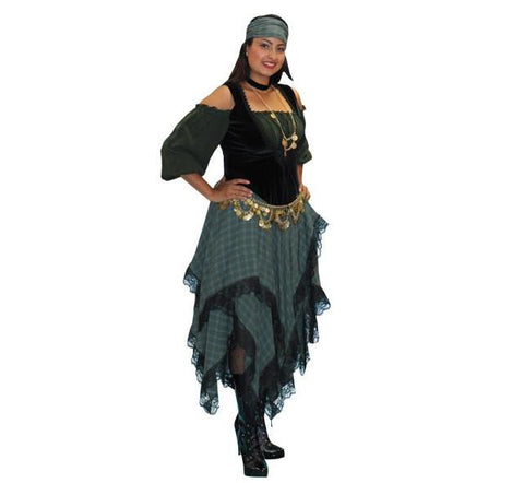 Green and Black Gypsy in Theatrical Costumes from BuffaloBreath at Buffalo Breath Costumes