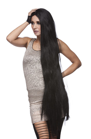 Deluxe Witch Wig with long, black, straight hair - at Buffalo Breath Costumes in San Diego