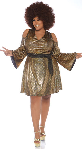 Disco Doll 1970s plus size costume by Leg Avenue 86780X at Buffalo Breath Costumes
