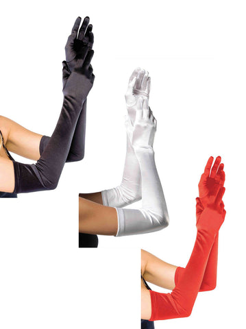 Extra Long Satin Gloves by Leg Avenue at Buffalo Breath Costumes in San Diego