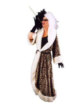 Cruella with Leopard Robe in Theatrical Costumes from BuffaloBreath at Buffalo Breath Costumes