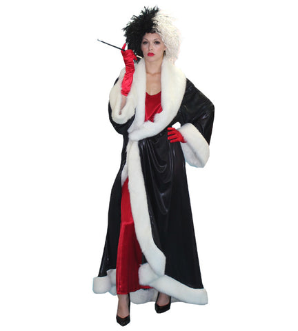 Cruella with Black Robe in Theatrical Costumes from BuffaloBreath at Buffalo Breath Costumes