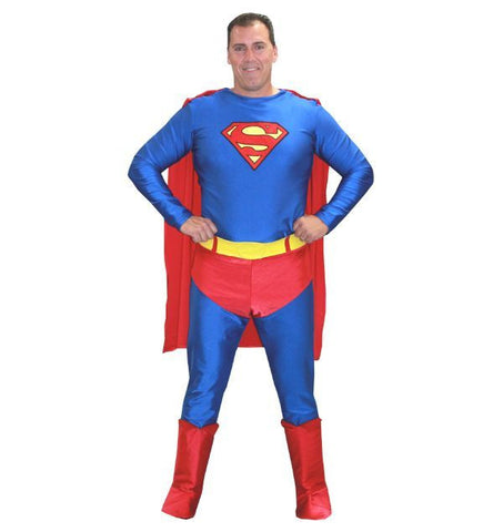 Superman mens superhero costume rental at Buffalo Breath Costumes