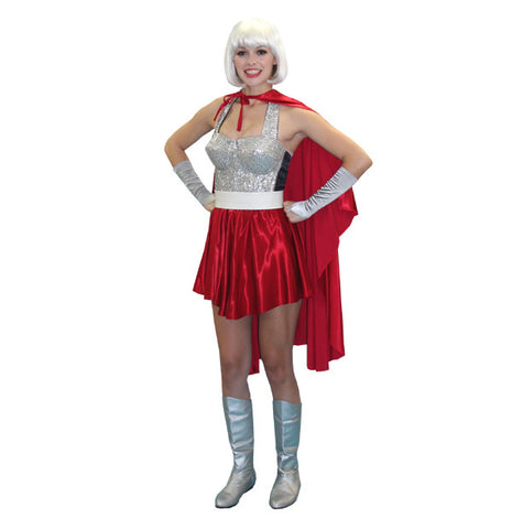 Superhero Woman (red/silver) in Theatrical Costumes from BuffaloBreath at Buffalo Breath Costumes