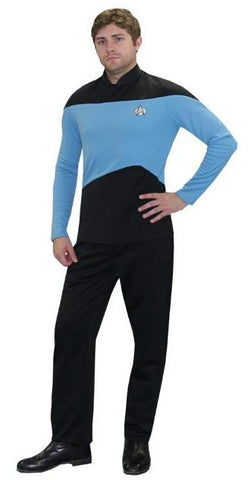 Star Trek The Next Generation (blue Starfleet uniform) deluxe costume rental or purchase at Buffalo Breath Costumes