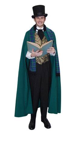 Dickens Caroler Male Green Cape in Theatrical Costumes from BuffaloBreath at Buffalo Breath Costumes