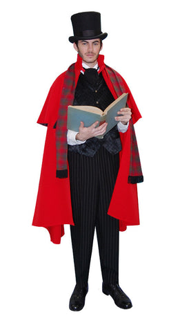Dickens Caroler Male Red Cape in Theatrical Costumes from BuffaloBreath at Buffalo Breath Costumes