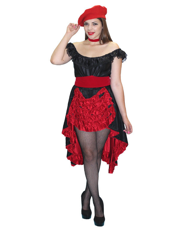 Red and Black French Woman in Theatrical Costumes from BuffaloBreath at Buffalo Breath Costumes