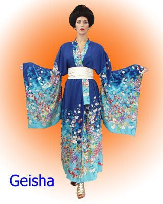 Geisha Blue Floral in Theatrical Costumes from BuffaloBreath at Buffalo Breath Costumes