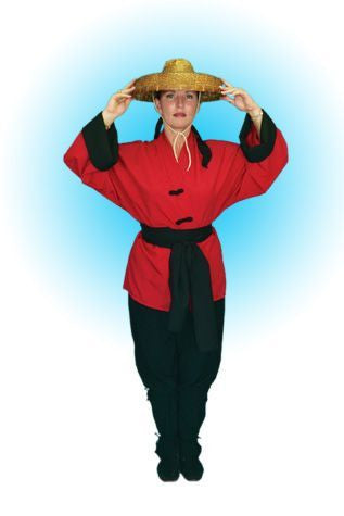 Female Japanese Red Hapi Coat in Theatrical Costumes from BuffaloBreath at Buffalo Breath Costumes