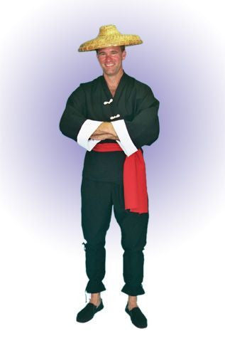 Male Japanese Black Hapi Coat in Theatrical Costumes from BuffaloBreath at Buffalo Breath Costumes