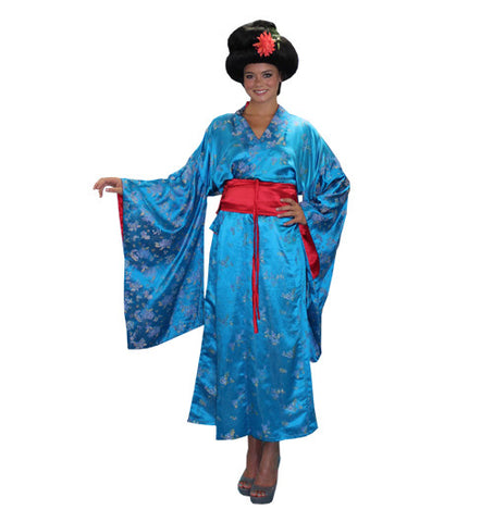 Geisha Blue with Red Belt in Theatrical Costumes from BuffaloBreath at Buffalo Breath Costumes