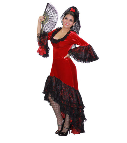 Flamenco Red Dress in Theatrical Costumes from BuffaloBreath at Buffalo Breath Costumes