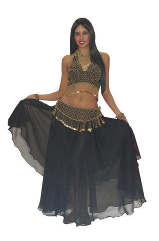 Deluxe Black and Gold Belly Dancer in Theatrical Costumes from BuffaloBreath at Buffalo Breath Costumes