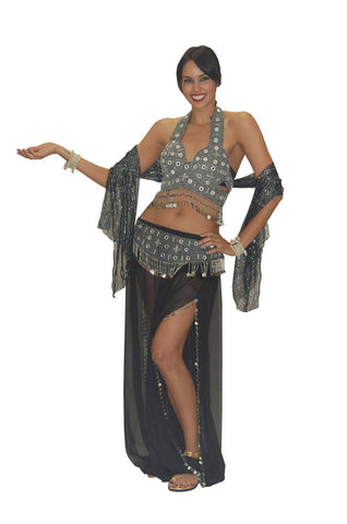 Deluxe Black and Silver Belly Dancer in Theatrical Costumes from BuffaloBreath at Buffalo Breath Costumes