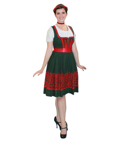German Woman Green with Red Print Dress in Theatrical Costumes from BuffaloBreath at Buffalo Breath Costumes